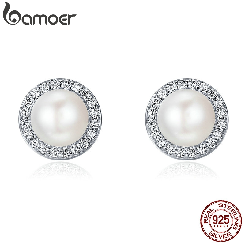 BAMOER 925 Sterling Silver Classic Round Sparkling CZ Fresh Water Pearl Stud Earrings For Women Sterling Silver Jewelry SCE122