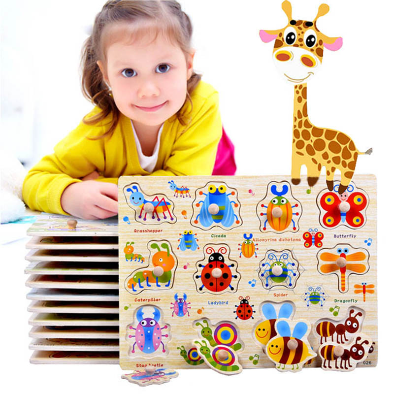 Baby Toys Montessori Wooden Puzzle Hand Grab Board Set Educational Wooden Toy Cartoon Vehicle/ Marine Animal Puzzle Child Gifts