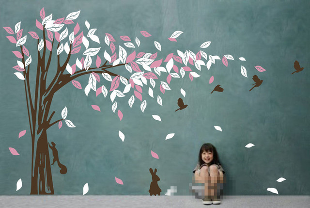 TV Background Mural Jungle Tree Removable Wall Art Stickers Kids ...