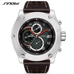 SINOBI Brand Sport Men watch Leather watchband Waterproof Chronograph Quartzwatch Clock Military WristWatch Male Saat RU ship