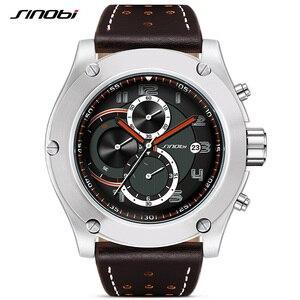 Image 1 - Reloj deportivo Marca SINOBI para hombre, correa de reloj de cuero, resistente al agua, cronógrafo, reloj de pulsera militar, Saat, RU