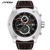 SINOBI Brand Sport Men Watch Luxury Male Leather Waterproof Chronograph Quartz Clock Military Wrist Watch Men
