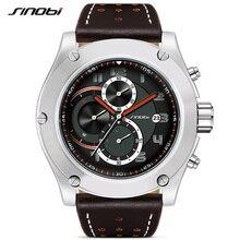Купить с кэшбэком SINOBI Brand Sport Men Watch Luxury Male Leather Waterproof Chronograph Quartz Clock Military Wrist Watch Men Clock Saat