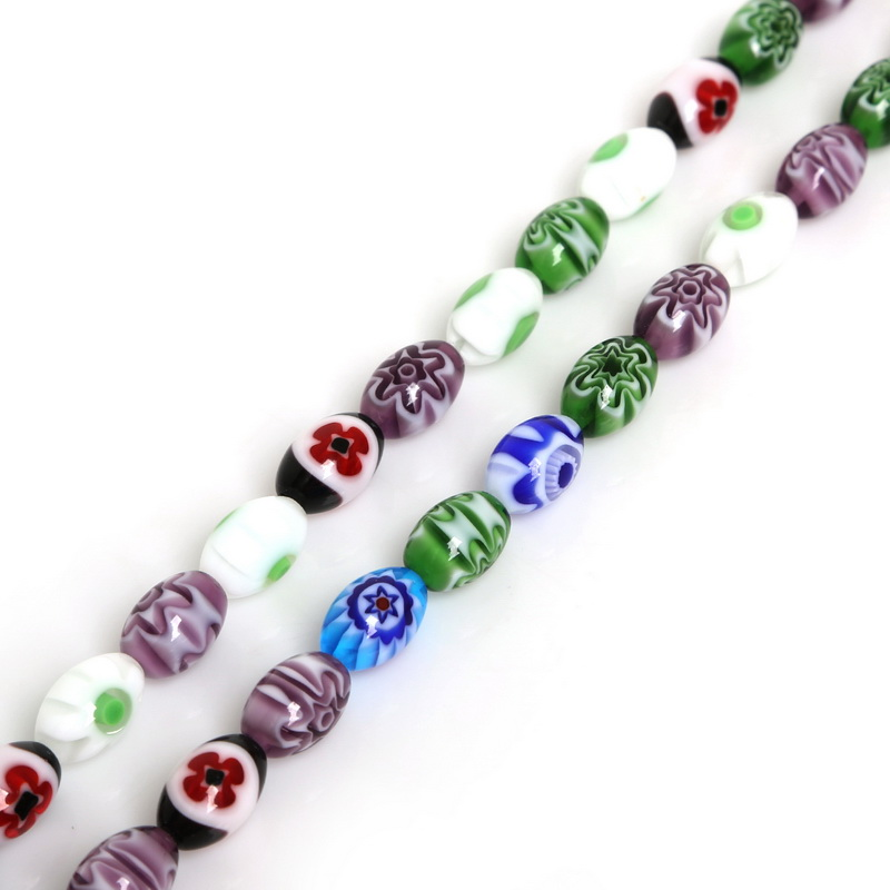 Hot Sale Oval Shape Millefiori Flower Lampwork Glass Beads Mix Color for Necklace Bracelet DIY Jewelry Making