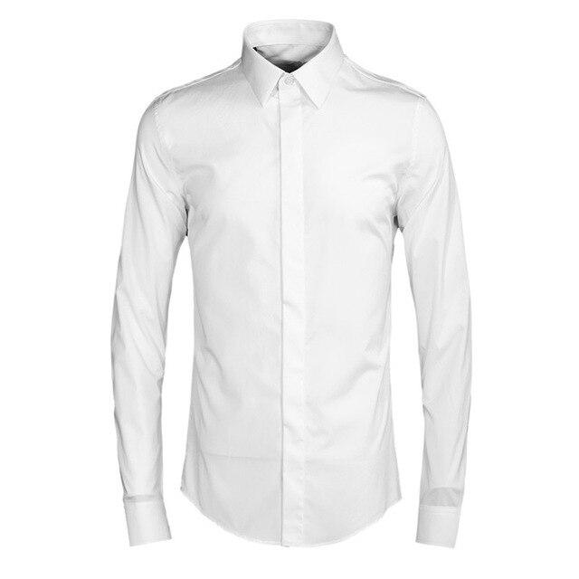 a3206363d8b White Shirt Men Casual Long Sleeve Dress Shirts Fashion Chemise Homme  Italian Cotton Slim Fit Plain Camisa Social Formal shirts