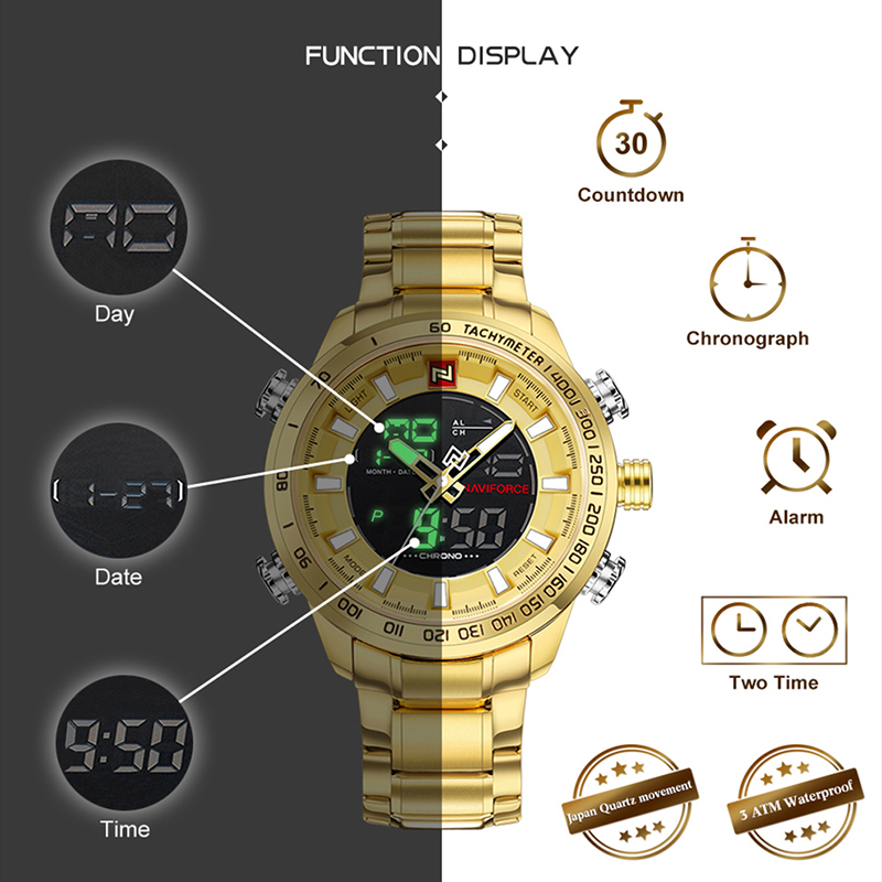 Image 2 - NAVIFORCE Mens Watches Luxury Gold Steel Strap Waterproof Sports LED Digital Military Quartz Wristwatch Clock Relogio Masculino-in Quartz Watches from Watches