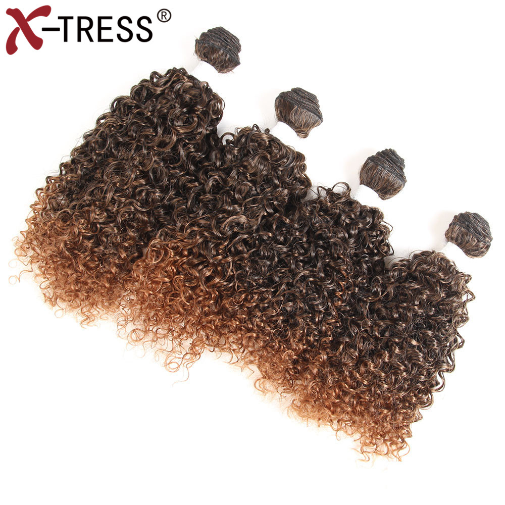 X-TRESS Synthetic Hair Weaves Heat Resistant Weaving 16161616Kinky Curly Hair Bundles Ex ...