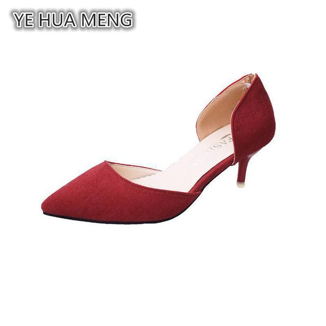 Spring Summer New Fine Pointed With The Girls High Heels Shoes All-match  Simple Shallow Mouth 407c6a813c97