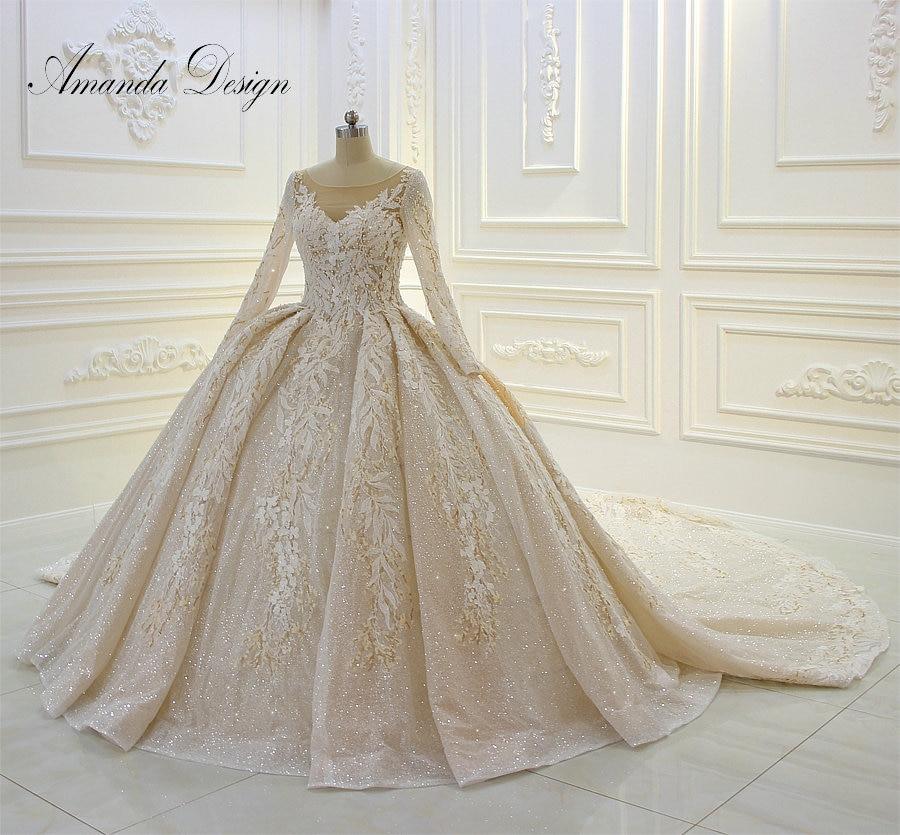 Weddings & Events Amanda Design Customized Long Sleeve Lace Applique Ball Gown Luxury Sparkle Wedding Dress