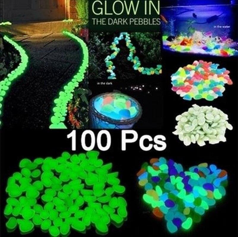 Glow Pebbles Stones 20100Pcs Home Fish Tank Outdoor Decor Garden Stones Luminous Glowing In The Dark Dropshipping