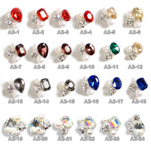 5pcs New Crystal Colourful/AB Nail Rhinestone Alloy Nail Art Decorations DIY Glitter K9 3D Nail Jewelry Gem Pendant Supplies