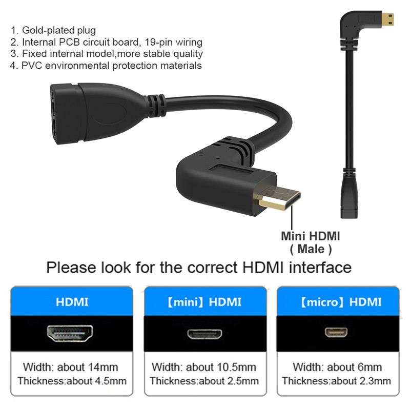 Image 3 - 90 Degree Right Angled Mini HDMI to HDMI Male to Female Cable for HDTV 1080p PS3 Evo HTC Vedio Gold Plated-in Computer Cables & Connectors from Computer & Office