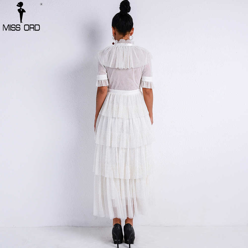 9bc1c4476555 ... Missord 2019 Women Sexy Retro High Neck Long Sleeve Flash See Through  Dress Female Elegant Ruffles