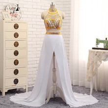 Long Gold and White Prom Dresses 2017 Crystals Sexy Dress High Quality Chiffon Gowns Long Graduation Dress Custom Made