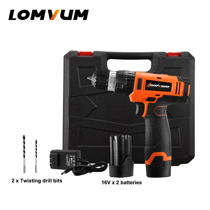 LOMVUM новая В 16 В ударная Беспроводная электрическая дрель Двойная скорость ручная отвертка Электрический инструмент перезаряжаемая батаре...