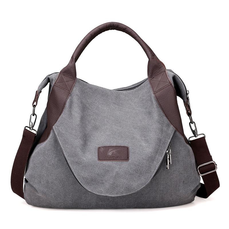 Canvas Message Bag Wholesale Blanks Vintage Canvas Tote with PU Handle and Zipper Closure Free Shipping DOM106836