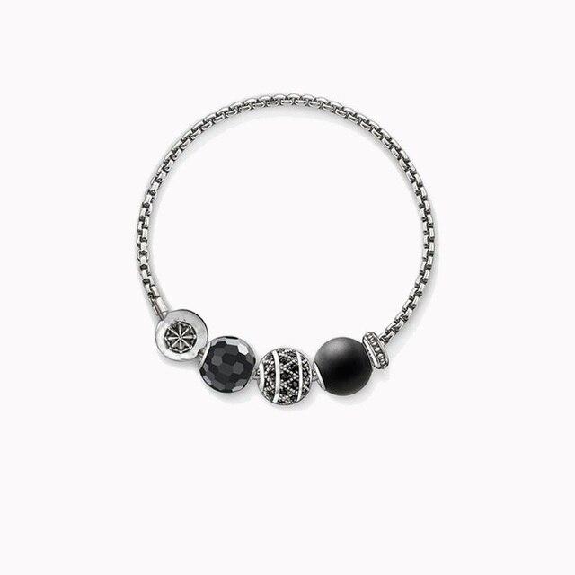 TS Black Obsidian Faceted Bead, Zigzag Bead, Obsidian Bead Bracelets, European Thomas Style Jewelry Gift 925 Silver For Women