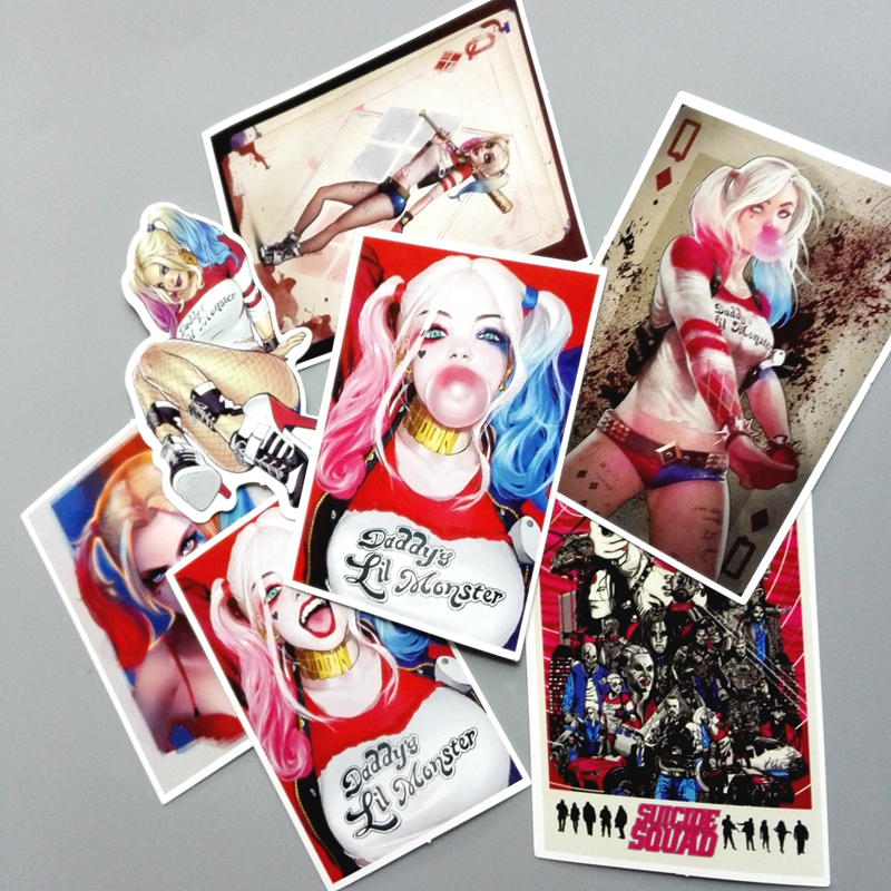 TD ZW 7Pcs/Lot Suicide Squad Harley Quinn Sticker For Car Laptop Luggage Skateboard Decal Stickers