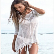 2019 New Beach Cover Up Bikini Crochet Knitted Tassel Tie Beachwear Summer Swimsuit Cover Up Sexy See-through Beach Dress цена 2017