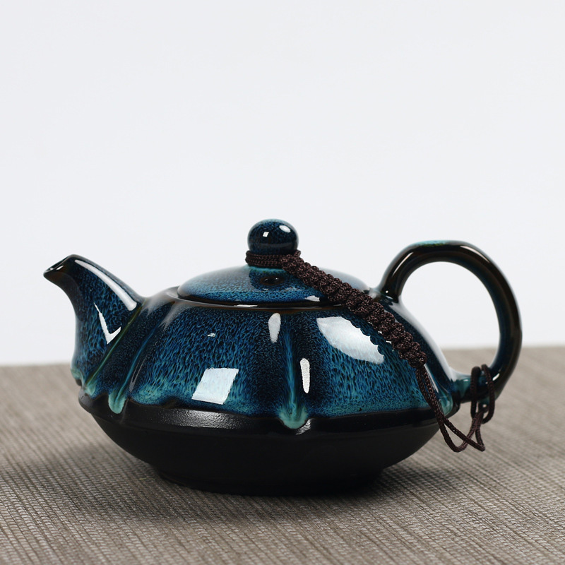 Jun kiln change glaze teapot,temmoku glaze pot Handmade kettle kung fu teapot Chinese tea ceremony supplies teapot 180mlJun kiln change glaze teapot,temmoku glaze pot Handmade kettle kung fu teapot Chinese tea ceremony supplies teapot 180ml