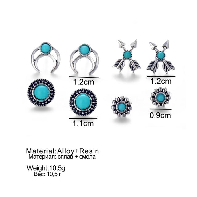 Boho Arrow Cross Moon Flower Gem Silver Women Punk Stud Earrings Set 5