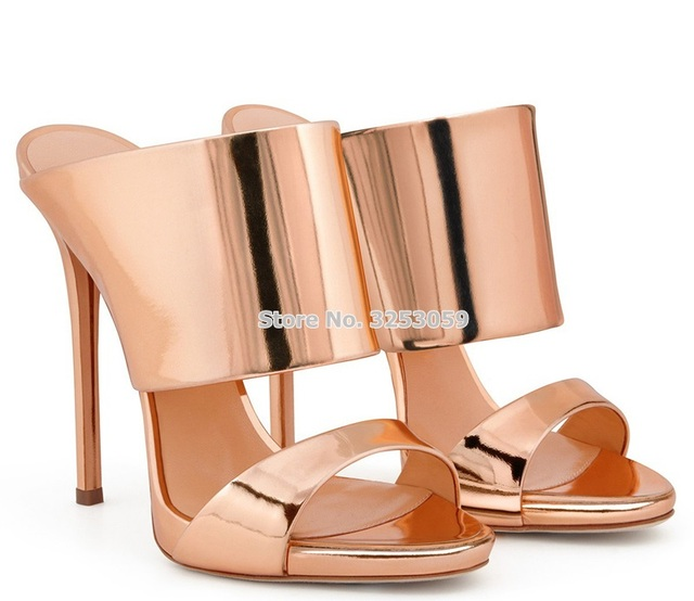 9446c46db1e ALMUDENA Rose Gold Silver High Heel Sandals Patent Leather Stiletto Heels  Slip-on Slipper Dress Shoes Open Toe Party Shoes Pumps