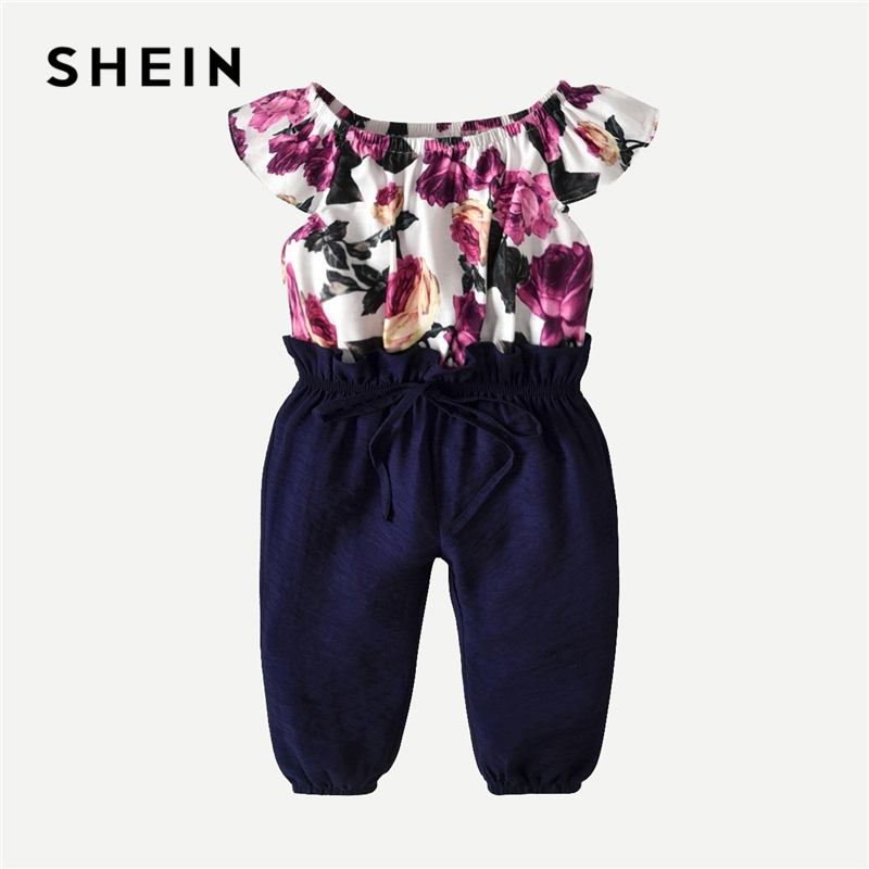 SHEIN Kiddie Toddler Girls Floral Print Drawstring Jumpsuit Children 2019 Boat Neck Short Sleeve Girls Jumpsuit Kids Jumpsuits shein kiddie grey solid caged neck marled knitted skinny casual jumpsuit girls 2019 spring sleeveless criss cross kids jumpsuits