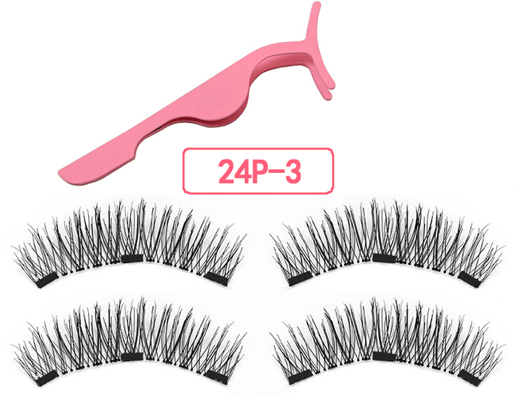 Magnetic Eyelashes With 3 Magnets Magnetic Lashes Natural False Eyelashes Magnet Lashes With Eyelashes Applicator-24P-3