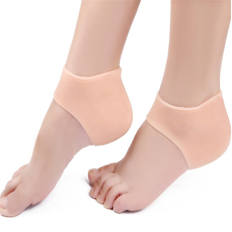 2Colors Silicone Moisturizing Gel Heel  Inserts For Women 1 Pair 10 Cm*9 Cm(3.93*3.54 Inch)