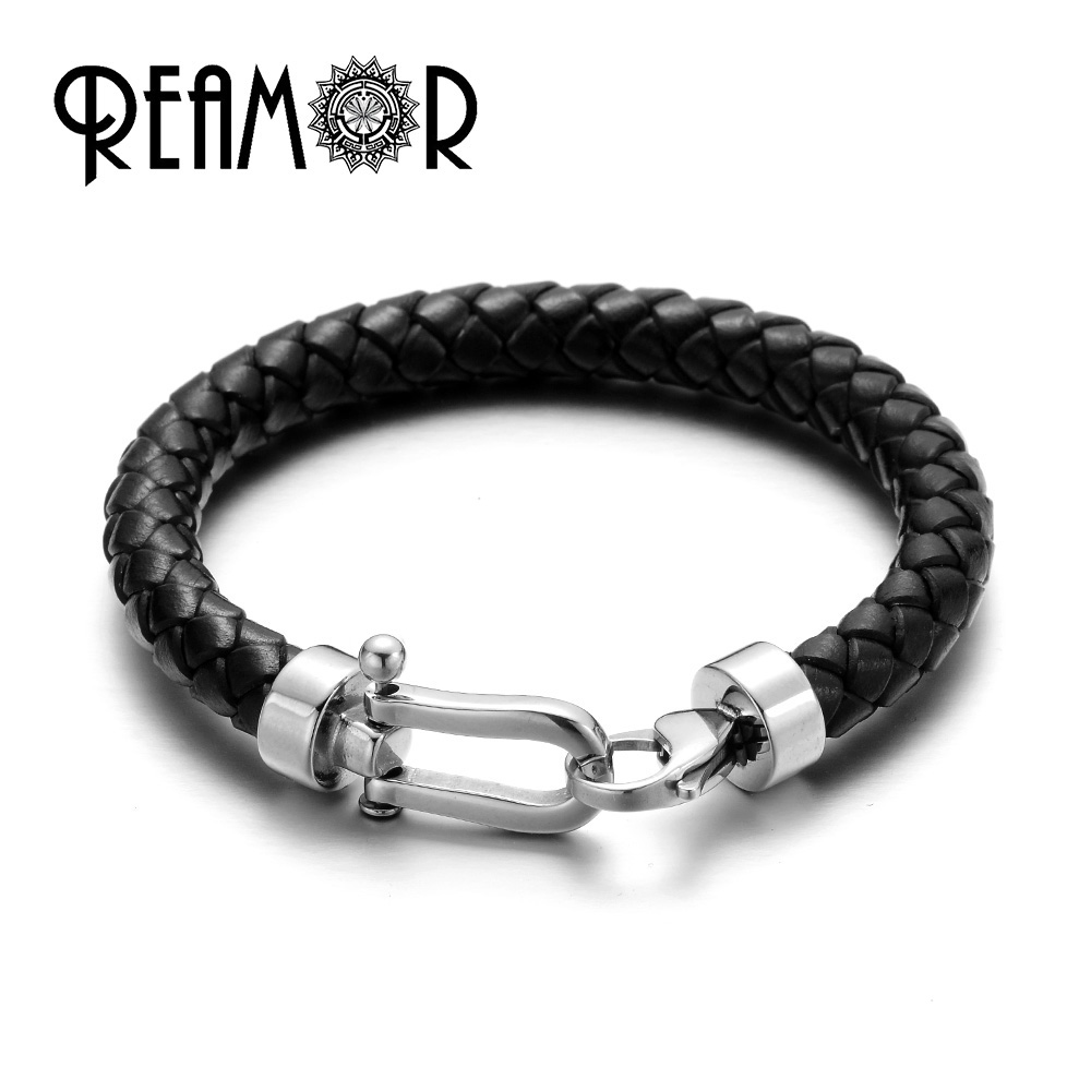 REAMOR Retro Red Genuine Braided Leather Men Bracelets & Bangles With 316l Stainless Steel Lobster Clasp Fashion Jewelry Gift