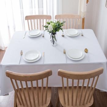 Mantel para restaurante de Color blanco sólido, 100% algodón y poliéster, mantel cuadrado redondo personalizado para boda, envío gratis