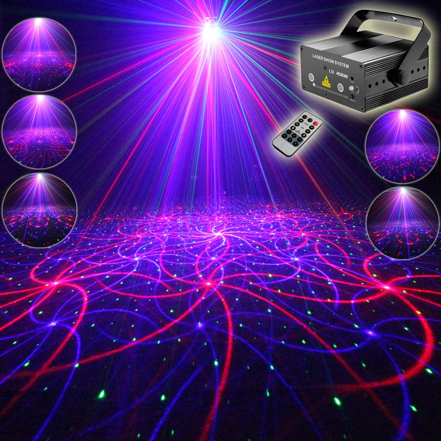 ESHINY MINI RGB Laser 2 Lens 12 Patterns Projector Family Party Bar DJ Holiday Disco Xmas Dance Stage Lighting Light N65T157
