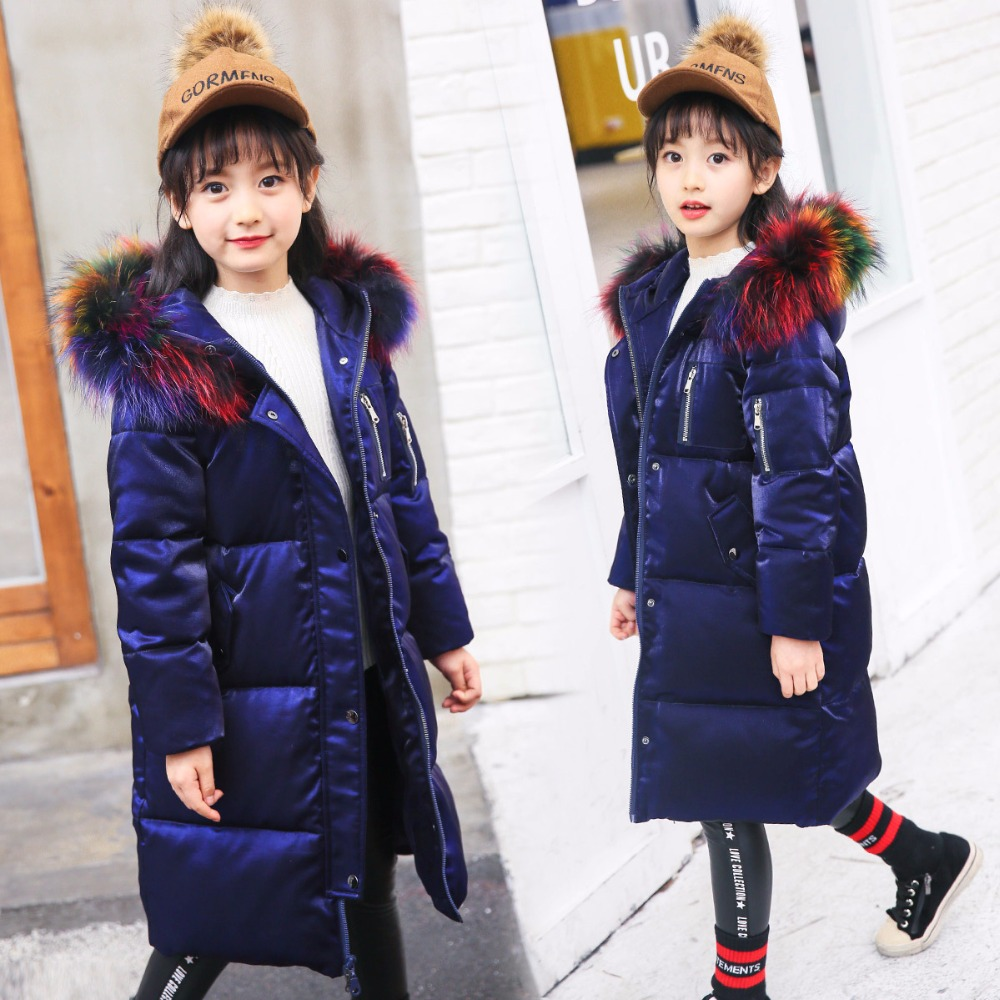 Winter Jacket Girl Coat Purple Cute Hooded Colored Fur Collar Kids 7 8 9 10 11 12 13 14 Years Child Clothes Thick Long Outerwear children cowboy jacket coat hooded 2017 winter new tide thick cashmere long outerwear size 4 5 6 7 8 9 10 11 12 13 years girl