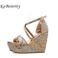 KEBEIORITY Women Wedge Platform Sandals Ankle Strap Wedge Casual Shoes High Heels Summer Sandals Black Gold Wedding Party Shoes