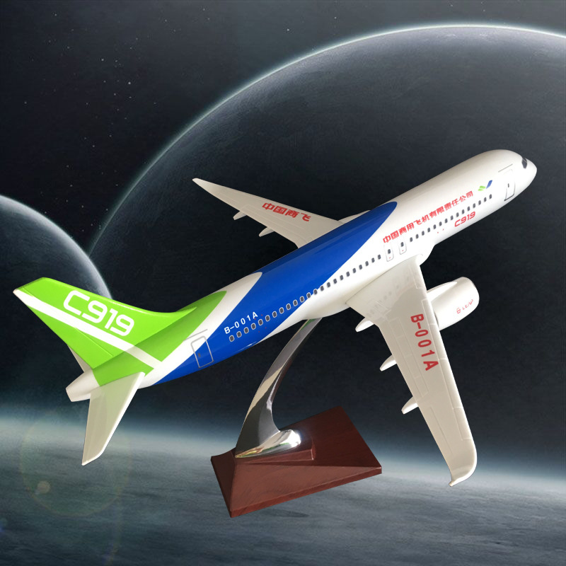 38cm Resin C919 China Commercial Aircraft Airplane Airbus Model China Commercial Flying C919 Plane Aviation Model Stand Craft pre sale phoenix 11216 air france f gsqi jonone 1 400 b777 300er commercial jetliners plane model hobby