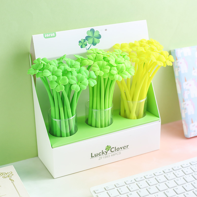 3 Pcs/lot Luminous Grass Clover Soft Silicone Gel Ink Pen Set Promotional Gift Stationery School & Office Supply Birthday Gift