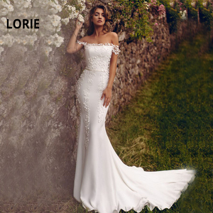 LORIE Mermaid Wedding Dresses 2019 Off the Shoulder Boat Neck Appliqued Boho Bride Dress Princess Wedding Gown vestidos de noiva
