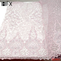 African heavy beaded lace fabric handmade 3d flower luxury french net lace 2019 bridal lace fabric dentelle tissu 5yard/lotF2003