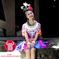 New woman colorful chinese folk dance Ethnic costumes Tujia/Dong/Miao dance skirt hmong silver collar sets