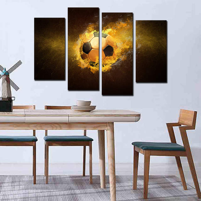 US $17.87 |Sports Wall Decals, Modern Bedroom Dining Room Wall Art Football  Soccer Wall Art Decor Decals Decoration Set of 4 for Wall Decor-in ...