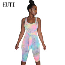 HUTI Casual Vintage Hollow Out Sleeveless Elegant Rompers Women Jumpsuits Fashion Printed Bodycon Bandage Playsuits Femme