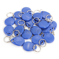 100pcs Blue RFID 125 khz EM4100 Key Tag Keyfobs Ring Chip Keytab TK4100 Tags 125khz Read Only ID cards