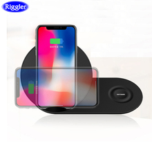 Riggler Qi 10W Fast Charging Pad 2 in 1 Wireless Charger for iphone X XS MAX iWatch 3 4 Samsung Gear