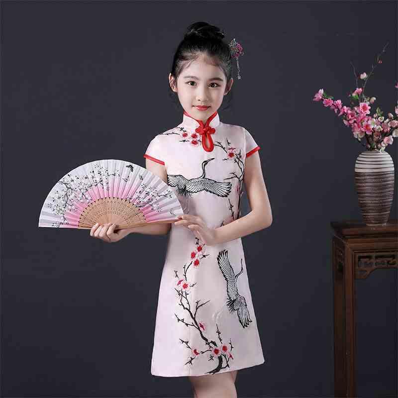 Girls Cheongsam 2018 Summer New Children's Cheongsam Tang Suit China Style Dress Grandchild Costumes Playing Guzheng