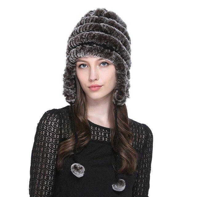 URSFUR Women's Rex Rabbit Fur Hats Winter Ear Cap Flexible Multicolor Hot sale real fur Beanie Cap with stripe pompoms