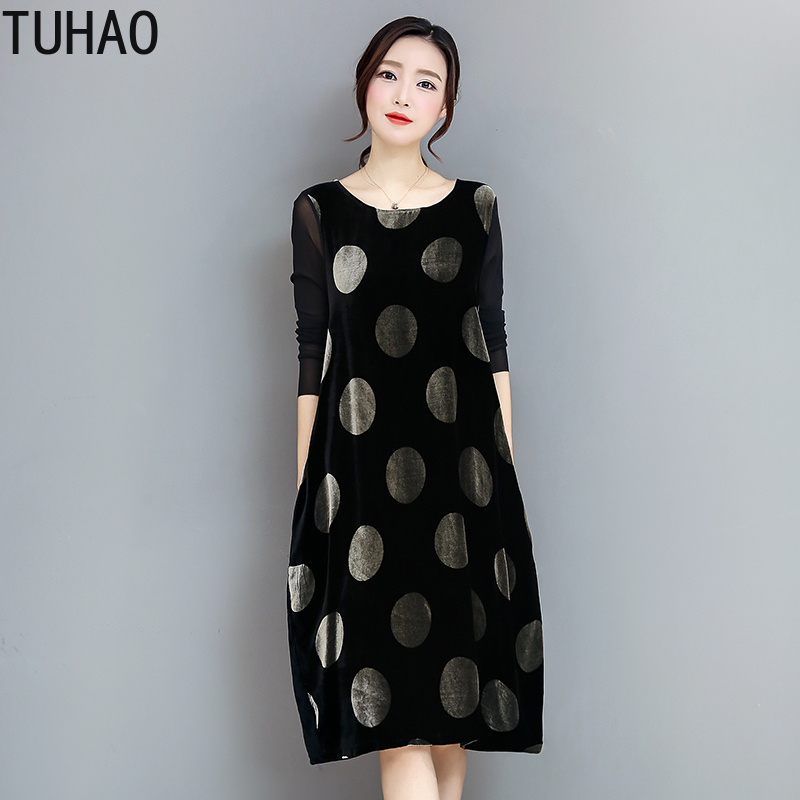 TUHAO Party Dress Autumn Winter Plus Size 3XL 2xl Women's Loose Elegant Dresses Dot Print Long Female Black Club Dress OLZ image