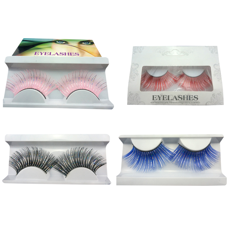 Colorful Glitter False Eyelashes Pink Black Red Blue Clip Silver Glitter Long Exaggeration Eyelashes For Costume Party Nightclub