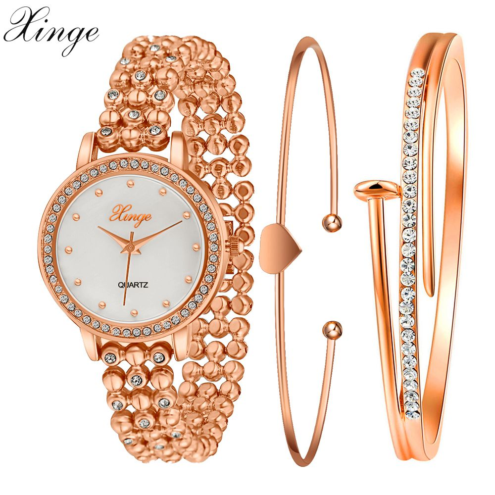 Xinge Fashion Brand Popular Watch Women Gold Crystal Bracelet Wristwatch Set Women Dress Watches Gift Female Electronic Watch popular brand watch women gold bracelet weave leather