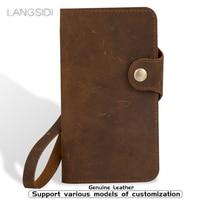 Genuine Leather flip Case For Xiaomi Redmi Note 4 5pro 7pro K20 back case retro leather buckle soft silicone bumper phone cover