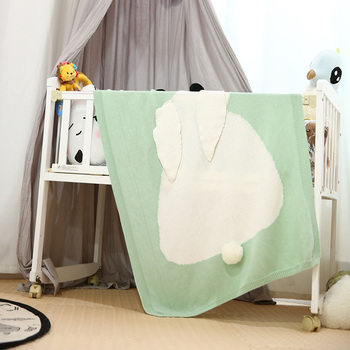 Серый розовый детское одеяло s кролик вязаная простыня для новорожденного дети персонализированные хлопковые постельные принадлежности О...